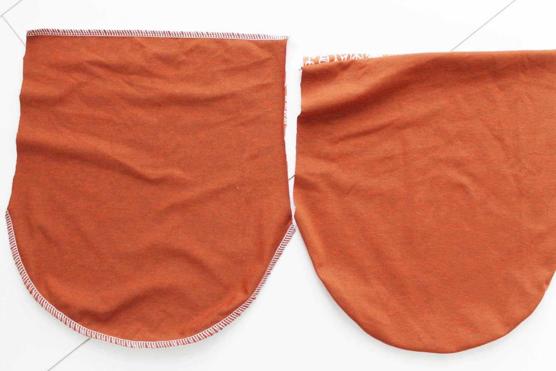orange Stoffzuschnitt mit Rundungen