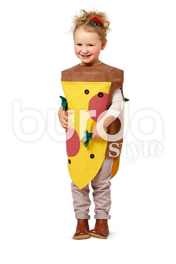 Kind im Pizza-Kostüm aus Burda Kinder-Fasching-Schnittmuster